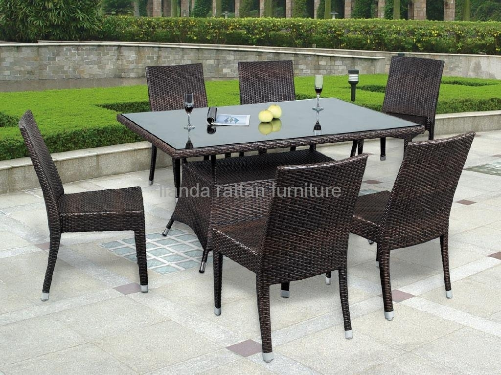 Stackable Rattan Dining Table Chair Dining Furniture Ld1131 – Ld Throughout Rattan Dining Tables (View 3 of 25)