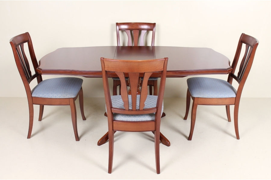 Stag Mahogany Dining Table And Chairs Set 4 Chairs | Vinterior Regarding Mahogany Dining Tables And 4 Chairs (Image 24 of 25)