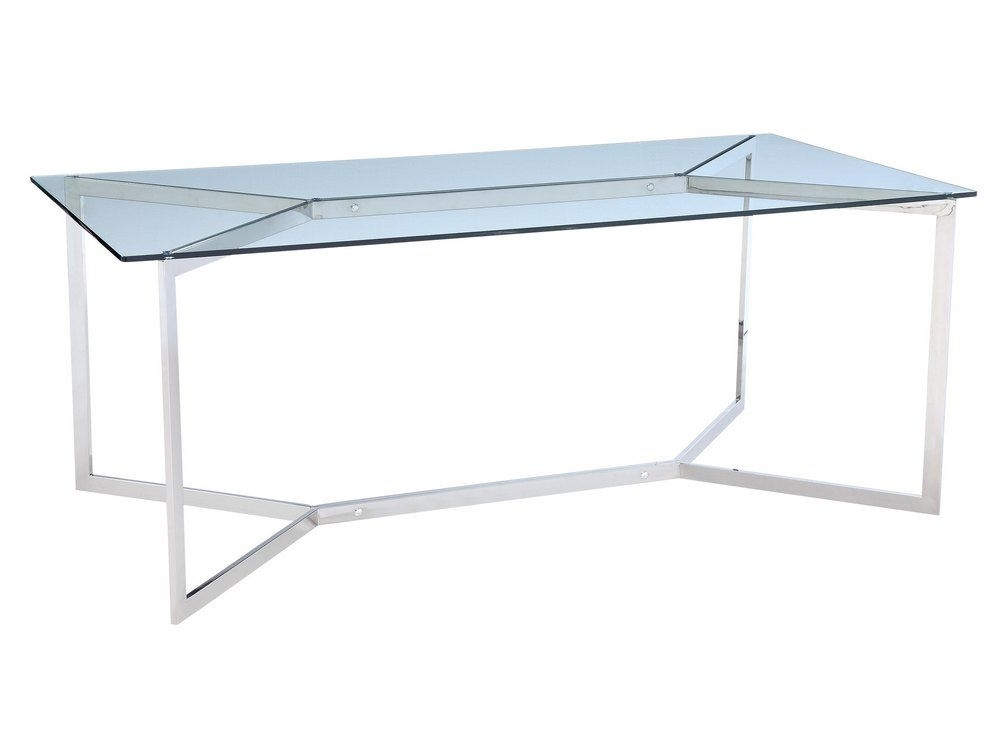 Stainless Steel And Glass Dining Table | Minimal Metal Dining Table With Regard To Glass And Stainless Steel Dining Tables (Image 23 of 25)