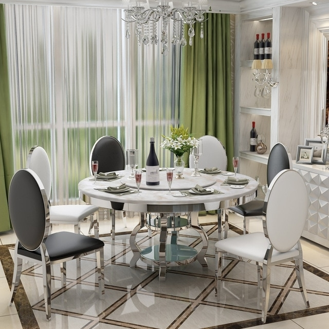 Stainless Steel Dining Room Set Home Furniture Minimalist Modern With Glass And Stainless Steel Dining Tables (View 21 of 25)