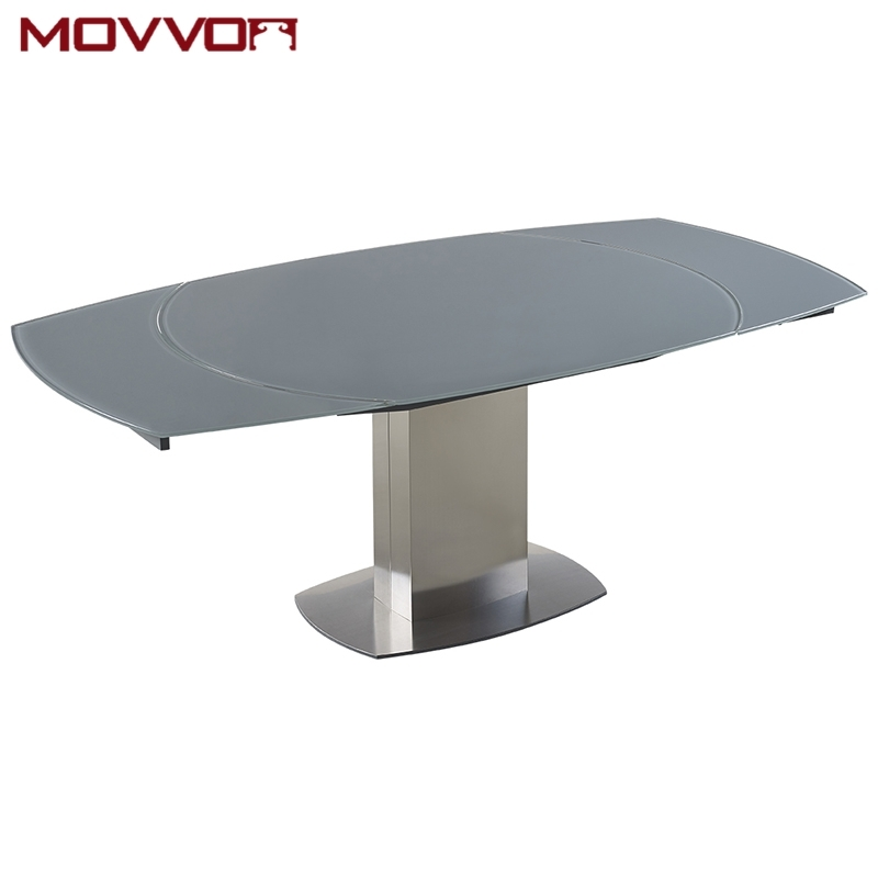 Stainless Steel Frame Rectangular Grey Tempered Glass Top Flow In Glass Extending Dining Tables (Image 21 of 25)