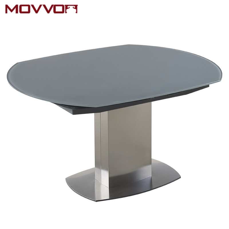Stainless Steel Frame Rectangular Grey Tempered Glass Top Flow Within Grey Glass Dining Tables (Image 24 of 25)