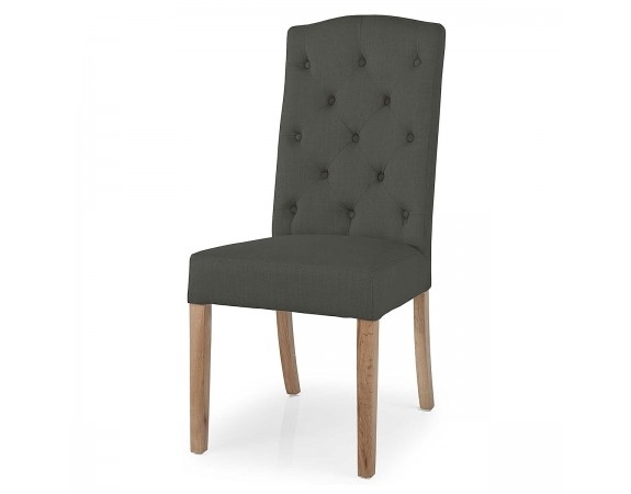 Stanza Button Back Dining Chair | Upholstered Charcoal Dining Chair With Regard To Button Back Dining Chairs (Image 25 of 25)