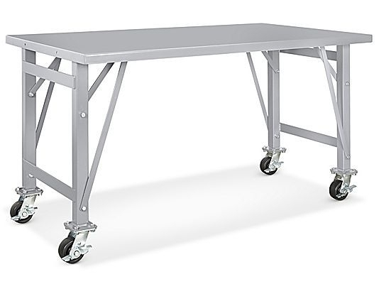 """Steel Assembly Table – Mobile, 60 X 36"""" H 5785 – Uline   Office Pertaining To Ina Pewter 60 Inch Counter Tables With Frosted Glass (Image 24 of 25)"""