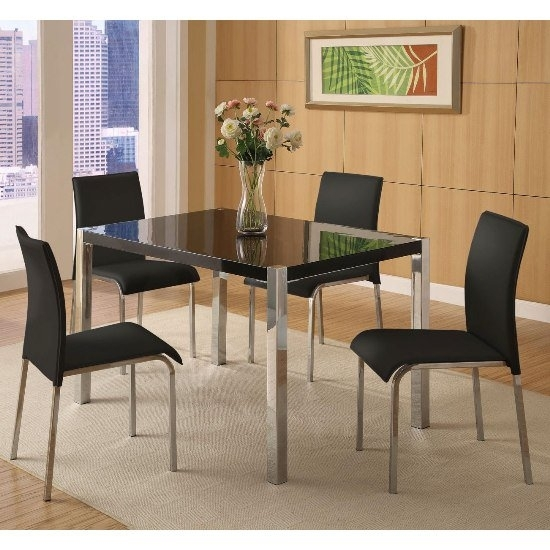 Stefan Hi Gloss Black Dining Table And 4 Chairs 4667 For Black Gloss Dining Tables And Chairs (Image 21 of 25)
