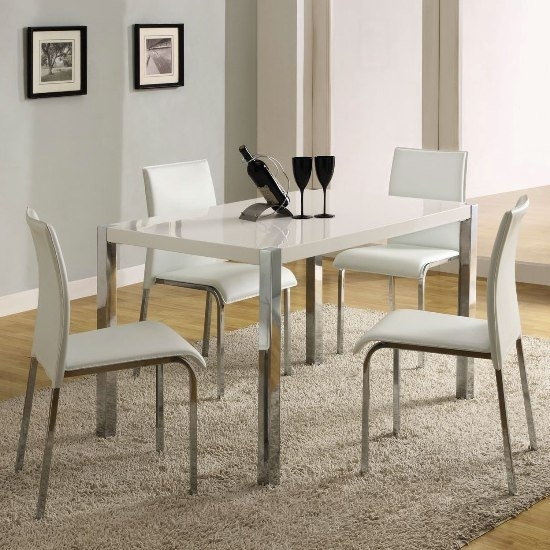 Stefan High Gloss White Dining Table And 4 Chairs 4668 Inside Gloss White Dining Tables (Image 19 of 25)