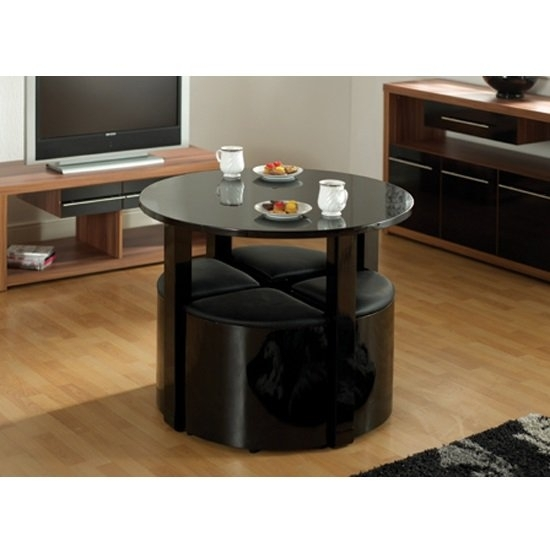 Stefan Stowaway Black Gloss Round Dining Table And 4 Black With Regard To Stowaway Dining Tables And Chairs (View 8 of 25)