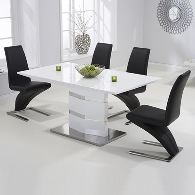 Stenson High Gloss White Dining Table With 6 Harvey Black Chairs Within Harvey Dining Tables (Image 24 of 25)