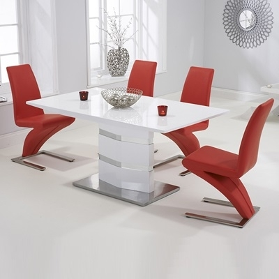 Stenson High Gloss White Dining Table With 6 Harvey Red Chairs For Red Gloss Dining Tables (View 6 of 25)