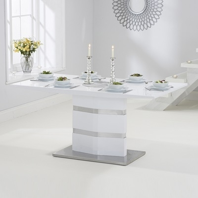 Stenson High Gloss White Dining Table With 6 Harvey Red Chairs with Red Gloss Dining Tables