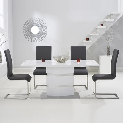 Stenson High Gloss White Dining Table With 6 Milan Grey Chairs Inside Dining Tables Grey Chairs (Image 23 of 25)