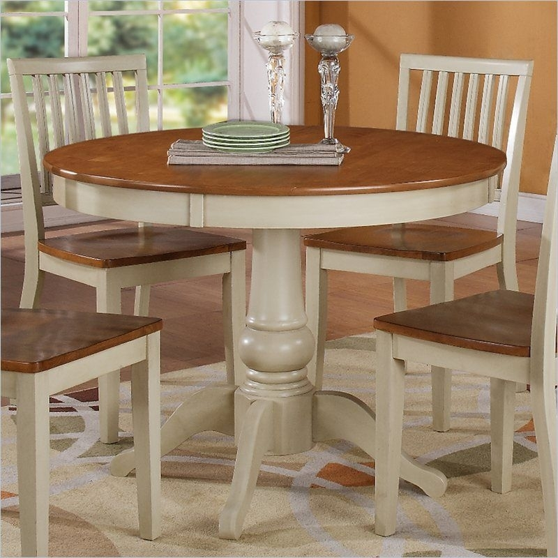 Steve Silver Company Candice Round Dining Table In Oak And Off White Regarding Candice Ii Round Dining Tables (Image 24 of 25)