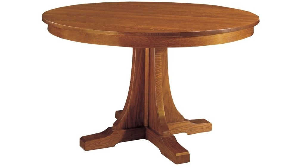 Stickley Craftsman Round Pedestal Dining Table With Leaves Throughout Craftsman Round Dining Tables (Image 24 of 25)
