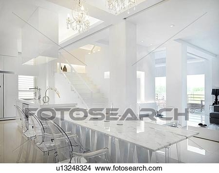 Stock Photo Of Marble Dining Table With Clear Plastic Chairs Inside Clear Plastic Dining Tables (Image 24 of 25)