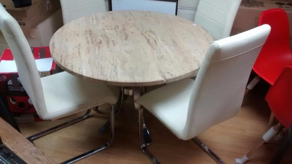 Stone Topped Marble Effect Dining Table And Chairs | In Nottingham Regarding Marble Effect Dining Tables And Chairs (View 22 of 25)