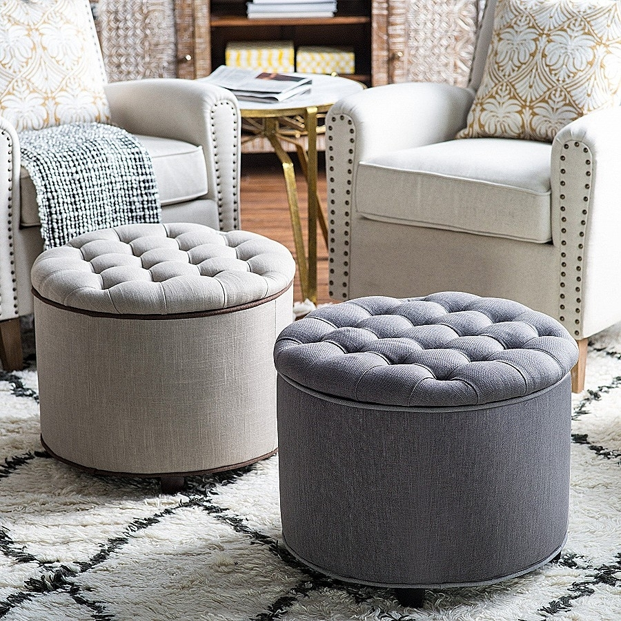 Storage Bench: Luxury Grey Tufted Storage Ben ~ Amidhararesorts With Tatum Dark Grey 2 Piece Sectionals With Laf Chaise (View 11 of 25)