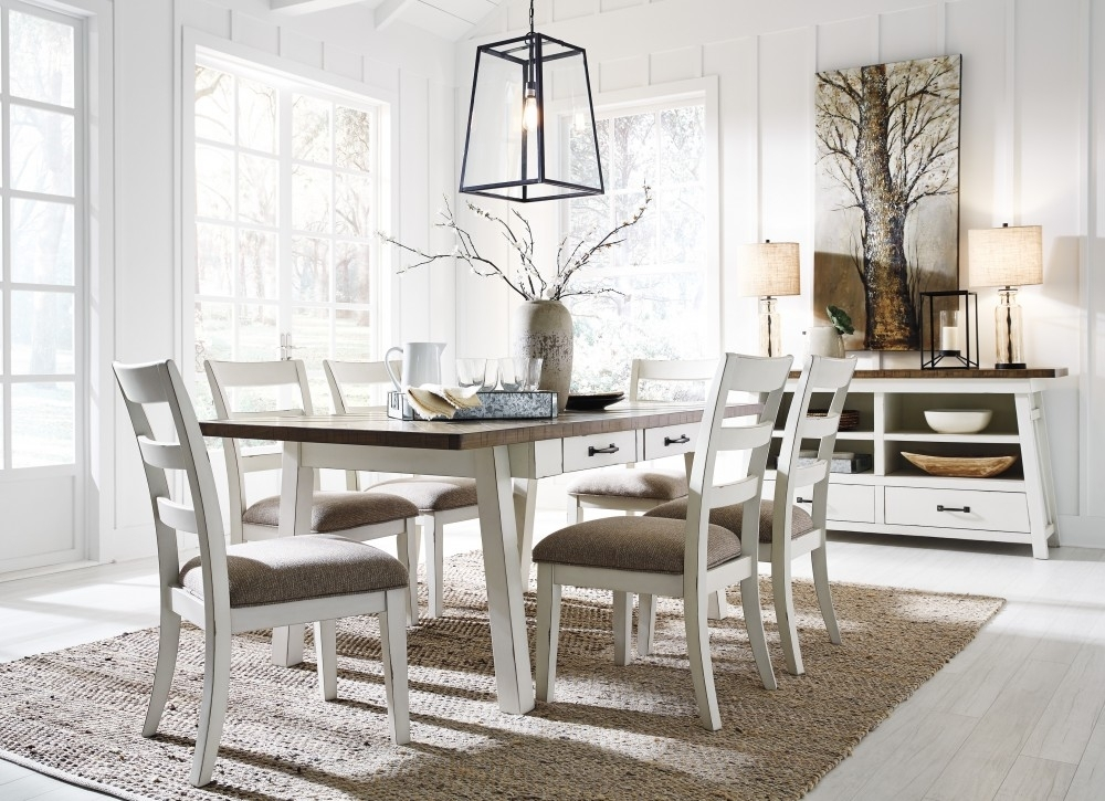 Stownbranner – Rectangular Dining Room Table & 6 Uph Side Chairs Regarding Market 6 Piece Dining Sets With Side Chairs (View 3 of 25)