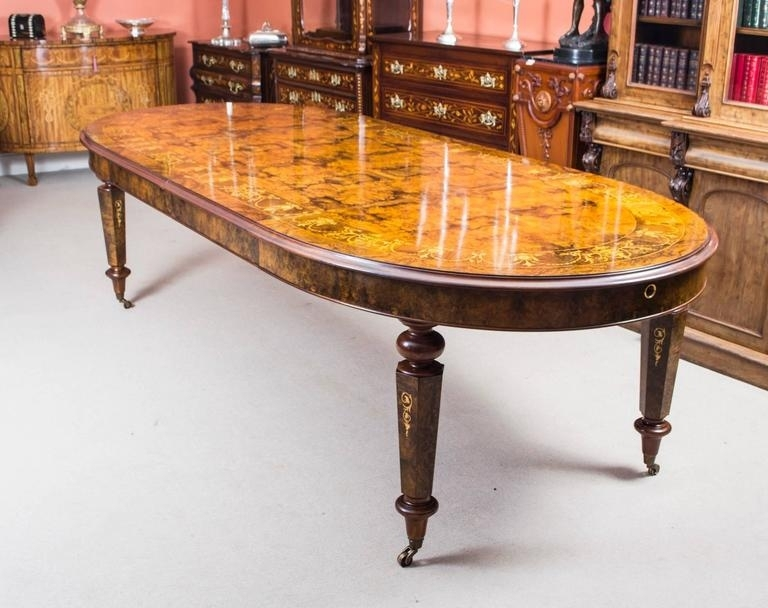 Stunning Bespoke Handmade Burr Walnut 10Ft Oval Marquetry Dining In Oval Dining Tables For Sale (Image 25 of 25)