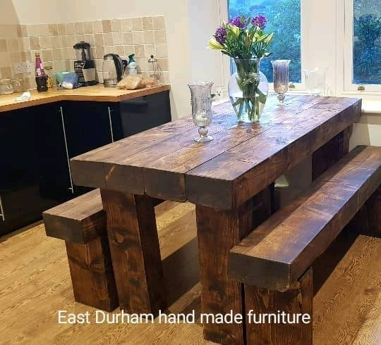 Stunning Dining Table With Bench's Hand Made In Railway Sleepers Throughout Railway Dining Tables (View 16 of 25)