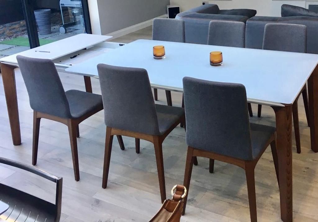 Stunning Italian (Bontempi Casa) Walnut & White Glass Extending With White Glass Dining Tables And Chairs (Image 24 of 25)