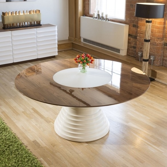 Stunning Large Round Walnut Lacquered Dining Table Glass Insert  (Image 24 of 25)
