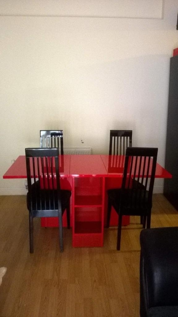 Stunning Red & Black High Gloss Contemporary Dining Table And Chairs Regarding Red Gloss Dining Tables (Image 19 of 25)