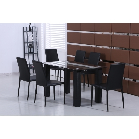 Stylish Black Glass Dining Table With Set Of 6 Black Faux Leather Inside Black Glass Dining Tables (View 18 of 25)