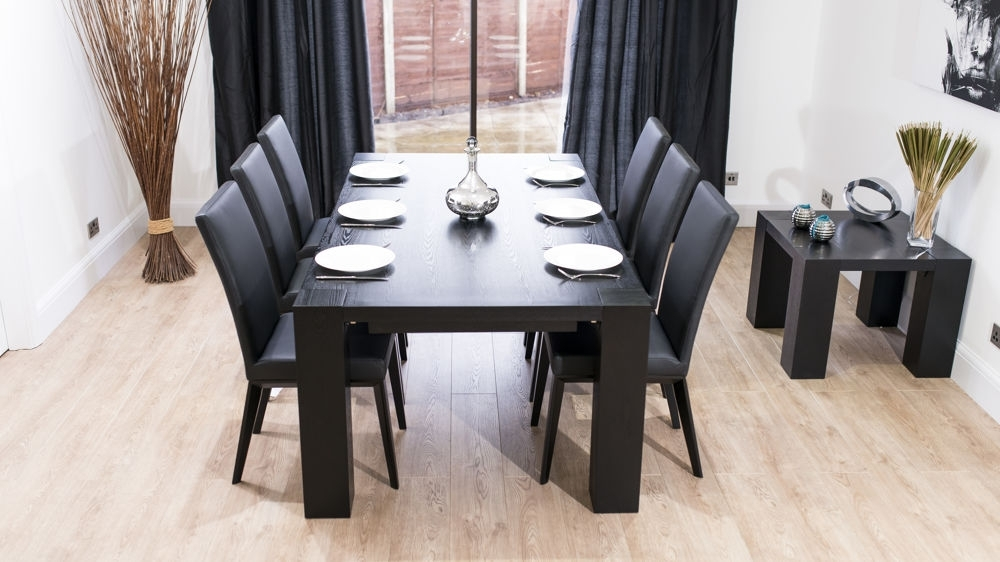 Stylish Large Black Ash Wood Extending Dining Set | Real Leather Chairs With Black Extending Dining Tables (Image 24 of 25)