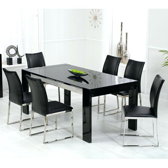 Sublime Black Glass Dining Room Table Black Glass Dining Table Set Intended For Black Glass Dining Tables And 6 Chairs (View 7 of 25)