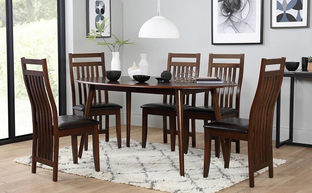 Suffolk Oval Dark Wood Dining Table With 4 Java Chairs (Brown Seat With Regard To Java Dining Tables (View 13 of 25)