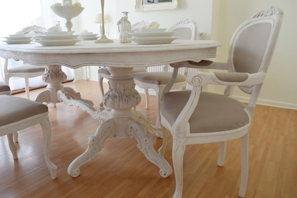 Summer Deal !!! *** Antique Shabby Chic Dining Table & Six Chairs With Regard To Shabby Dining Tables And Chairs (View 10 of 25)