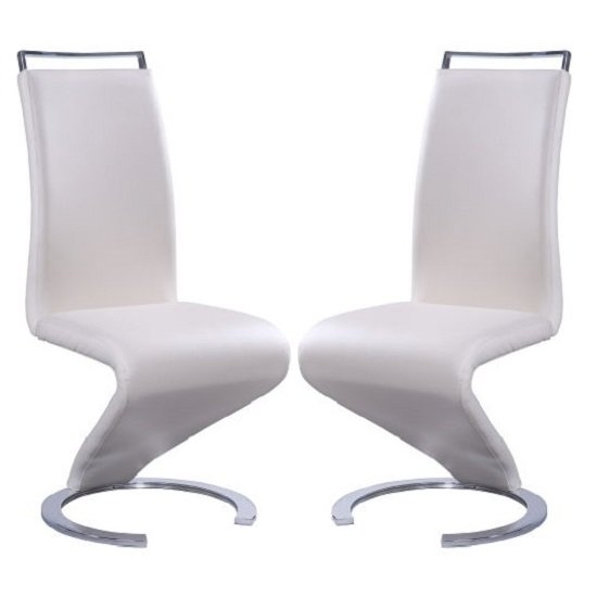 Summer Z Shape Dining Chair In Cream Faux Leather In A Pair Inside Cream Faux Leather Dining Chairs (Image 24 of 25)