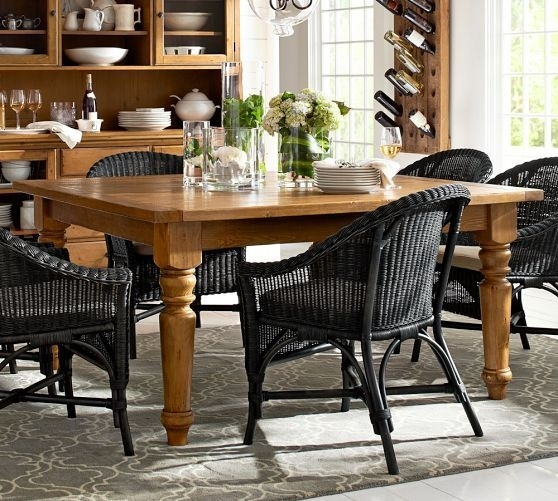 Sumner Square Fixed Dining Table | Pottery Barn | Table Decor Intended For Combs 7 Piece Dining Sets With  Mindy Slipcovered Chairs (Image 21 of 25)