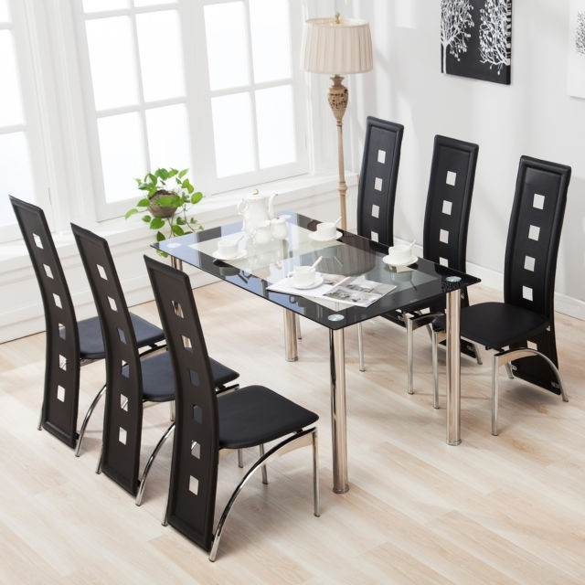 Suncoo 7 Piece Dining Table Set 6 Chairs Glass Metal Kitchen Room In Dining Room Glass Tables Sets (Image 24 of 25)