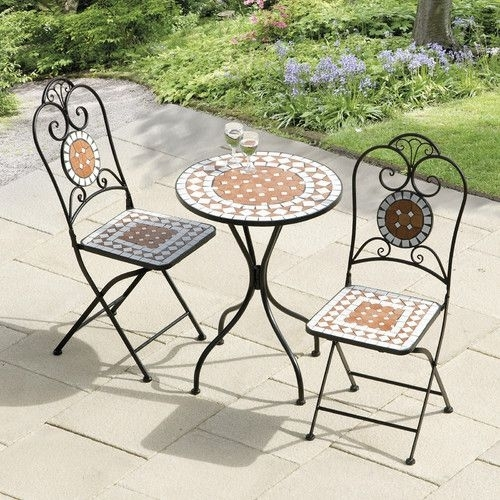 Suntime Outdoor Living Diamond Mosaic 3 Piece Bistro Set | Balcony With Regard To Caira Black 5 Piece Round Dining Sets With Diamond Back Side Chairs (Image 23 of 25)