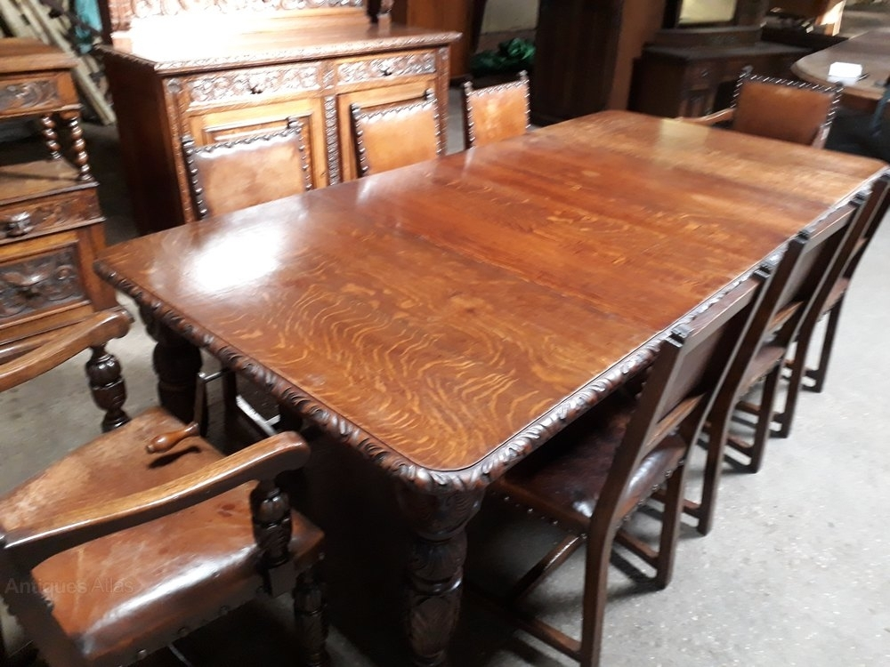 Superb Carved Oak Dining Room Suite – Antiques Atlas With Oak Dining Suite (Image 23 of 25)