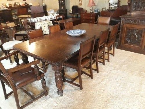 Superb Carved Oak Dining Room Suites&h Jewell – Antiques Atlas Intended For Oak Dining Suite (Image 24 of 25)