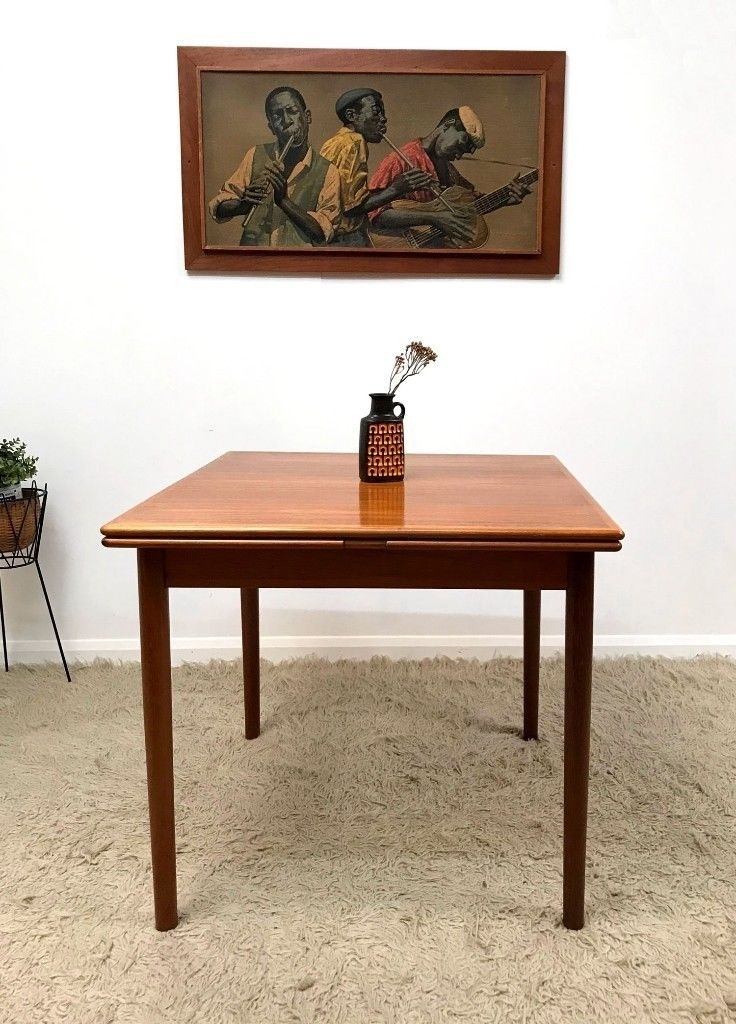 Superb Danish Ansager Mobler Mid Century Teak Compact Square Throughout Square Extending Dining Tables (Image 24 of 25)