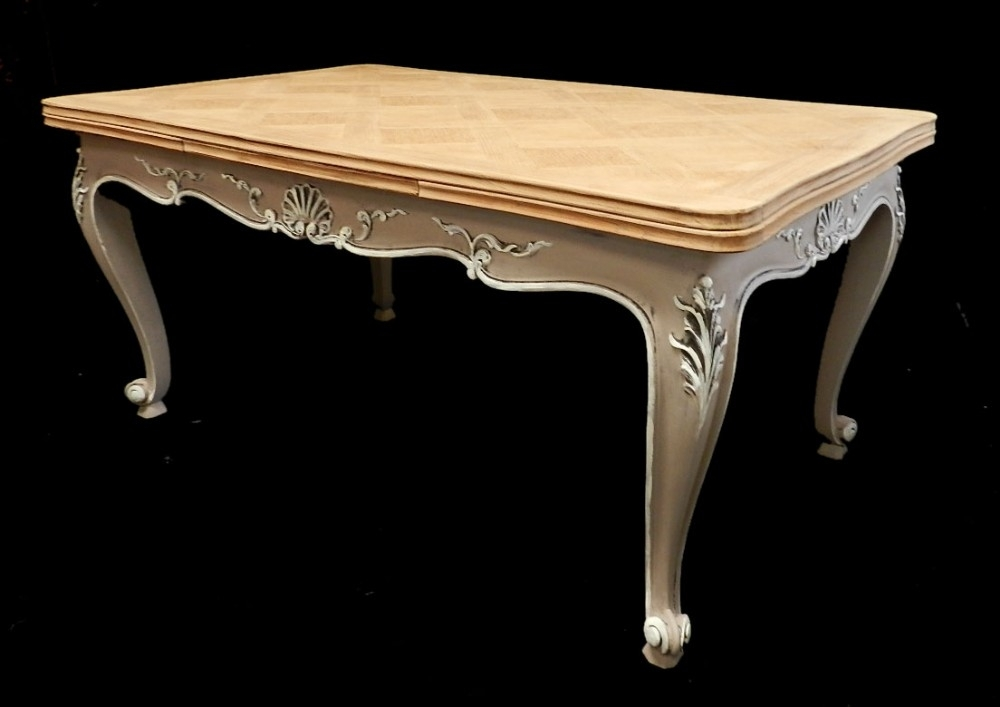 Superb French Extending Dining Table Solid Oak Parquet Top Early Inside Parquet Dining Tables (Image 22 of 25)