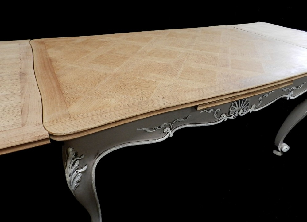 Superb French Extending Dining Table Solid Oak Parquet Top Early With Parquet Dining Tables (Image 23 of 25)