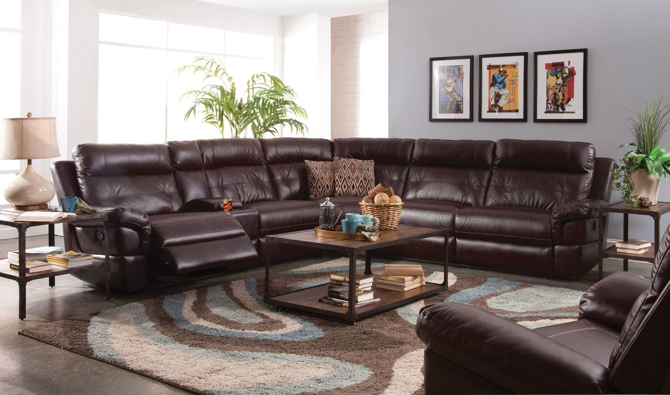Sussex Lambskin Chocolate Power Reclining Sectional From New Classic In Turdur 3 Piece Sectionals With Raf Loveseat (Image 24 of 25)