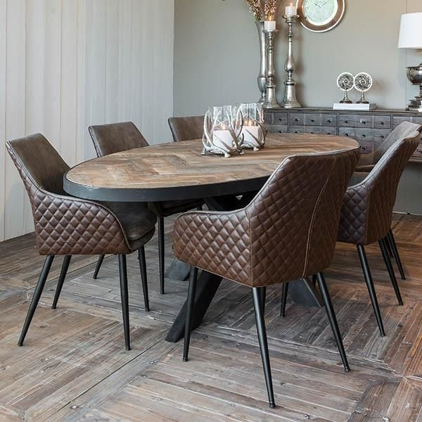 Sussex Oak Parquet Industrial Oval Dining Table In 2018   Dining Pertaining To Oval Reclaimed Wood Dining Tables (Image 25 of 25)
