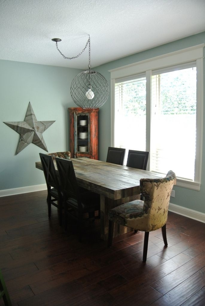 Swap Off Center Light Fixture | Dining Room | Pinterest | Dining Throughout Combs 7 Piece Dining Sets With  Mindy Slipcovered Chairs (Image 22 of 25)