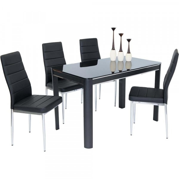 Sweet Slim 70 Cm Wide Narrow Black Gloss Dining Table With Regard To Black Gloss Dining Tables (View 19 of 25)