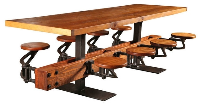 Swing Out Seat Table With Eight Cast Iron Attached Seats And Oak For Dining Tables With Attached Stools (Image 23 of 25)