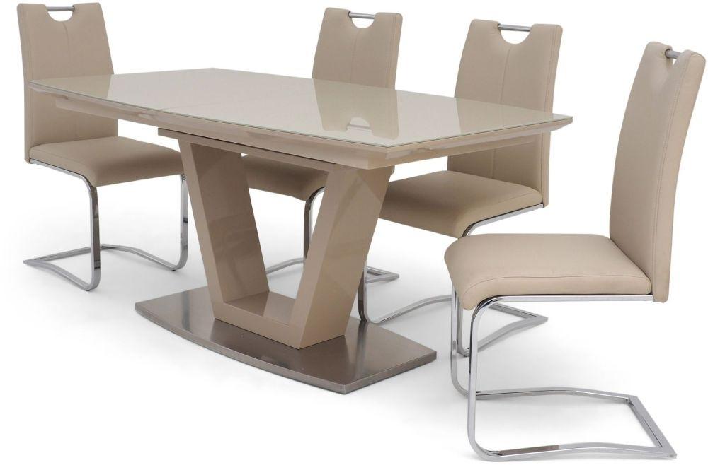Sydney 160Cm 220Cm Rectangular Extending Cream High Gloss Dining Set For Cream High Gloss Dining Tables (Image 20 of 25)