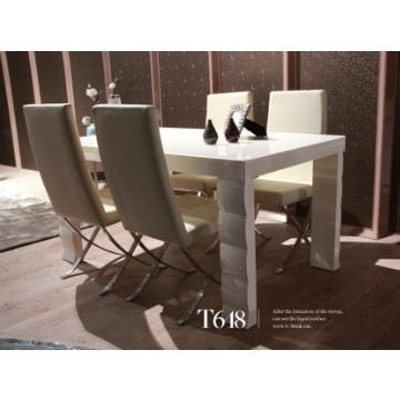 T648, China Tempered Glass In Cream Color And Mdf Dining Table With With Cream Gloss Dining Tables And Chairs (Image 21 of 25)