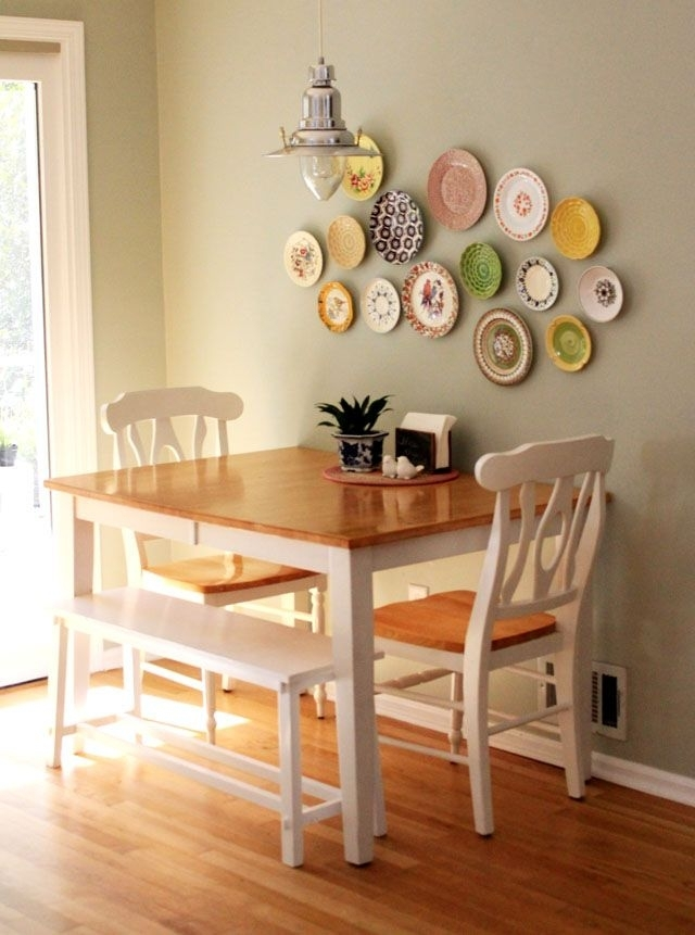Table Against The Wall, Two Chairs, One Bench Seat (Image 21 of 25)