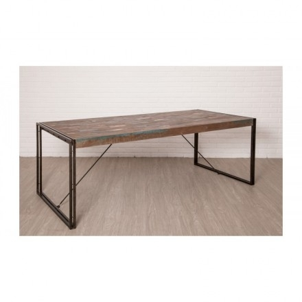 Table Vintage Noah In Solid Recycled Teak And Metal (220X100X78Cm) Within Noah Dining Tables (View 23 of 25)