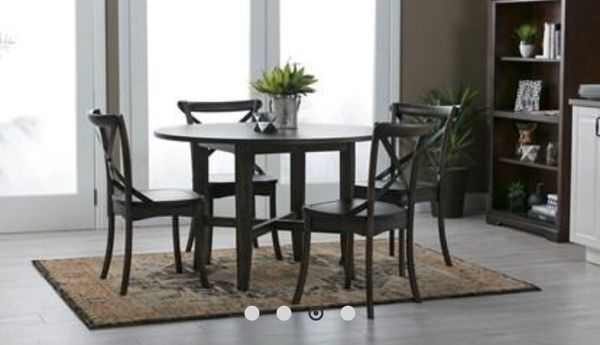 Table With Trestle With Shelf And Table Top (2 Trestles And 1 Table With Regard To Grady Round Dining Tables (Image 24 of 25)